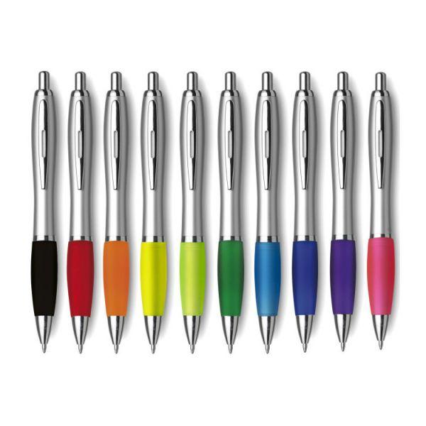 Kugelschreiber-Silber-Farbige-Gummimanschetten-KLM-K01